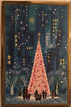 VINTAGE MID CENTURY GLITTERED PINK TREE PARK TALL NY BUILDINGS CHRISTMAS CARD