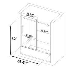 "SUNNY 59"" W x 62"" H Semi-Frameless Shower Door | Wayfair Tub Shower Doors, Frameless Shower Doors, Shower Base, Wood Bridge, Sliding Doors, Modern Bathroom, Home Improvement, New Homes, Floor Plans"