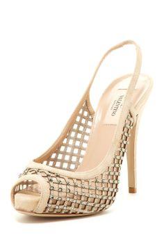 Valentino Peep Toe Jewel Embellished Pump