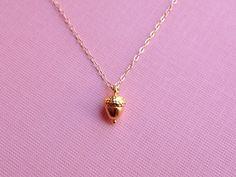 Tiny Acorn Necklace in Gold. $34.00, via Etsy.