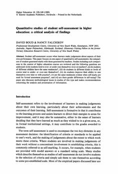 Quantitative studies of student self-assessment in higher education: a critical analysis of findings - Springer