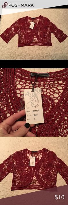 Crocheted cardigan. Beautiful ruby red crochet cardigan with a hint of sparkle.  NWT. Jackets & Coats