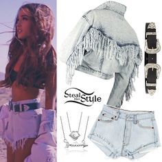 Ariana Grande Into You video Vintage Wash Denim Jacket with Tassels, Vintage Levi's Shorts, a Bri Bri Black+Silver Belt by B-Low The Belt, a Princess Kiss Necklace and the Words Taken Arrow Necklace both by Alex Woo.