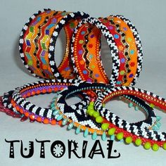 Beautiful colors schemes by Mikki Ferrugiaro  TUTORIAL  Carousel Zig Zag and Skinny Bangles | MikkiFerrugiaroDesigns - Patterns on ArtFire