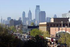 View of the Philadelphia skyline from Temple University.