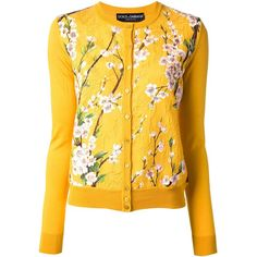 DOLCE & GABBANA floral print cardigan (€680) ❤ liked on Polyvore featuring tops, cardigans, outerwear, sweaters, jackets, floral print tops, button front top, yellow floral top, floral cardigan and dolce gabbana top