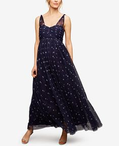 Image 1 of A Pea In The Pod Maternity Polka-Dot Maxi Dress