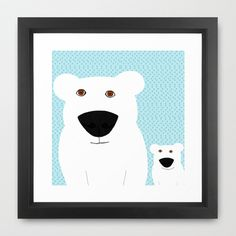 Winter - Polar Bear 2 Framed Art Print by Verene Krydsby - $39.00 Polar Bear, Framed Art Prints, Snowman, Disney Characters, Fictional Characters, Snoopy, Winter, Animals, Winter Time