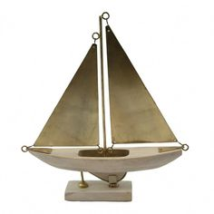 Shop for Sagebrook Home 12850 Wooden Sailboat On Stand, White Wash Wood, 19 x 4 x 22 Inches. Get free delivery On EVERYTHING* Overstock - Your Online Home Decor Outlet Store! Sailboat Decor, Wooden Sailboat, Home Decor Items, Home Decor Accessories, Decorative Accessories, Nautical Bathroom Design Ideas, Nautical Home, Unfinished Wood Furniture, Wood Block Crafts