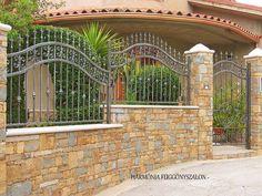 House Fence Design, Modern Fence Design, House Outside Design, Front Door Design, Stone Wall Design, Steel Gate Design, Iron Gate Design, Jamaica House, Iron Garden Gates