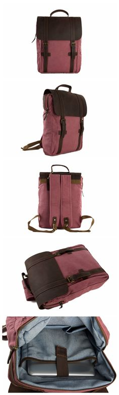 Leather-Canvas Backpack Laptop Bag Travel Bag Unisex Backpack 1820