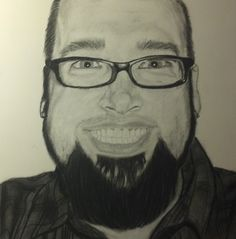 """Overexcited Self Portrait"" -- Scott Swalley (Charcoal on paper)"