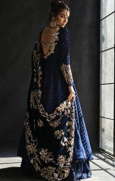 Velvet Lines Leather Cut Peshwas Paired With Lehnga And Velvet Shawl With Zardoze Work. Beautiful Pakistani Dresses, Pakistani Dress Design, Pakistani Outfits, Beautiful Dresses, Party Wear Lehenga, Party Wear Dresses, Casual Dresses, Bridal Lehenga, Lehenga Choli