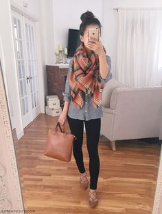 Grey shirt+black leggins+brown lace up ballerinas+brown tote bag+plaid scarf. Fall outfit 2016