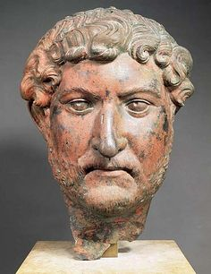 Emperor Hadrian, head of Roman statue (bronze), 2nd century AD, (Musée du Louvre, Paris).