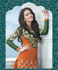 Get ready for all the attention and praises at any Party, Wedding or festive occasion with this stunning Green, Orange and Maroon Georgette Designer suit. Eye-Catching Embroidery work and Handwork gives it a distinct look. Beautiful Work is done on the sleeves too. What makes it stand apart is the Striking Color combination.
