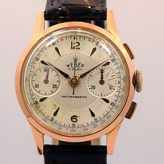 1940's Vintage Weber 18K Rose Gold 2 Register Chronograph watch Retailed by Norstel & Co. with Original Silver Dial with Applied Rose Gold 6 & 12 Plus Elongated Double Arrow Markers. Swiss Case Very G