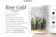 The Rose Gold Theme Magazine is a stylish and fashionable layout that can showcase any business or blog. This template is great for designers, creatives, photographers, businesses, blogs and more and is available in InDesign and Photoshop formats.
