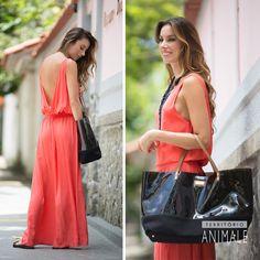Dia e Noite: vestido de seda coral – dia #territorioanimale #animalebrasil