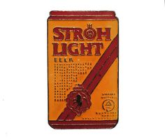 """STROH LIGHT BEER can vintage enamel pin lapel badge tie pin by VintageTrafficUSA  11.00 USD  A vintage Stroh's pin! Excellent condition. Measures: approx 1"""" 20 years old hard to find vintage high-quality cloisonne lapel/pin. Beautiful die struck metal pin with colored glass enamel filling. Add inspiration to your handbag tie jacket backpack hat or wall. Have some individuality = some flair! -------------------------------------------- SECOND ITEM SHIPS FREE IN USA!!! LOW SHIPPING OUTSIDE…"""