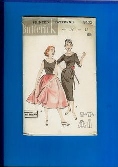 www.etsy.com/shop/IPityTheSpool Vintage 1950s Butterick 8402 sewing pattern and instructions for MISSES DRESSY SEPARATES: MAGIC-TO-MAKE Scoop-neck top and tapered or full skirt.