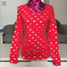 Red top with gold hearts Long sleeve red top with gold hearts all over Tops Tees - Long Sleeve