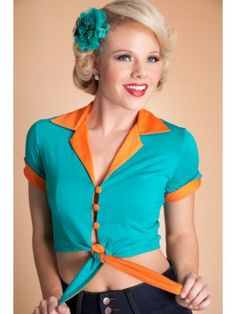 Comfy Blouse Turquoise with Orange