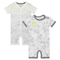 Burt's Bees Baby Boys' Organic 2 pack Watercolor Shortalls - Gray 12M, Size: 12 Months