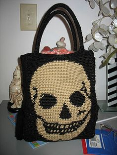 Skull panel PATTERN LINK! This is an example of what you can do with my skull crochet pattern. Other ideas would be a handbag, pillow, afghan, sweater, backpack, or any other project with the correct row length and stitch w...