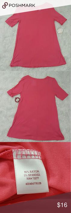 "SO Perfectly Soft Pink Tunic Tee Size Small NWT NWT  SO Perfectly Soft Tunic Tee. Soft fabric. Small indents in fabric (pictured) from hanging in the closet, but may come out after washing. Beautiful pink color. Bust Measures 32""  Length Measures 26 3/4"" -002- SO Tops"