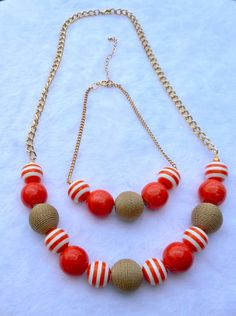 Mommy & Me Necklace Set  Orange Bead Necklace by ByKeeksWithLove
