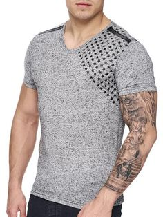 with a mock collar and a badge / crest on the left side of chest / casual muscle slim body fit fitted tee shirt Workout Shirts, V Neck T Shirt, Tee Shirts, Men Sweater, Hipster, Mens Fashion, Casual, Band, Gray
