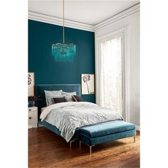 Anthropologie Velvet Edlyn Bed ($1,838) ❤ liked on Polyvore featuring home, furniture, beds, blue green, aqua bed, aqua colored furniture, colored furniture, aqua furniture and anthropologie furniture