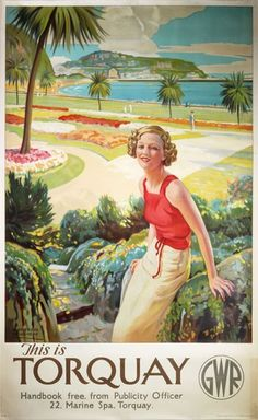 Original vintage poster: This is Torquay – GWR - New Site Train Posters, Railway Posters, Tourism Poster, Art Deco Posters, Nostalgia, Beautiful Posters, Vintage Travel Posters, Vintage Ski, Advertising Poster