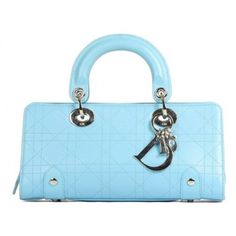 Christian Dior Turquoise Leather Lady Dior Cannage Bag