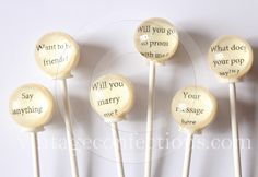 Mystery Message edible art lollipops by Vintage Confections