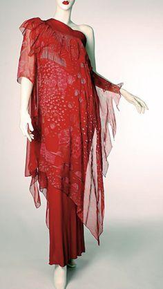 Zandra Rhodes fashion style couture vintage era? 70s red silk dress gown sheer one shoulder