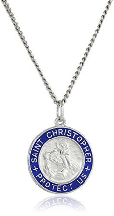 Sterling Silver Round Saint Christopher Medal Pendant Necklace with Blue Epoxy Edge and Rhodium Plated Stainless Steel Chain 20 >>> You can find more details by visiting the image link.Note:It is affiliate link to Amazon.