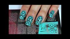 moyou pr xl 03 - mint flower argyle nail stamping tutorial