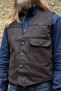 Indigofera Floyd Vest Black/Brown Hickory   Pinkomo Raw Denim, Black And Brown, Vest, Jackets, Clothes, Fashion, Down Jackets, Outfits, Moda