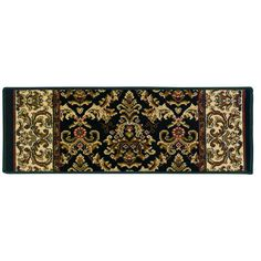 Natco Kurdamir Elegante Black 9 in. x 33 in. Stair Tread - 5614.81.19STME - The Home Depot