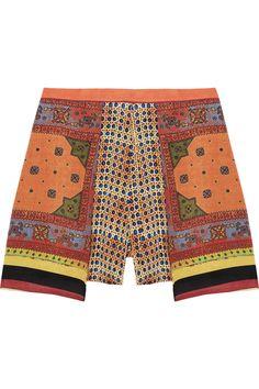 Clover Canyon Printed crepe de chine shorts NET-A-PORTER.COM