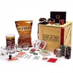 A professional grade poker night in one manly crate.  Premium poker gear, blackout shades, four awesome shot glasses and high-quality snacks.