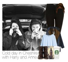 """""""Cold day in Cheshire with Harry & Anne"""" by hpforever00 ❤ liked on Polyvore featuring Topshop, Chicnova Fashion, H&M, Venom, Frye, harrystyles and OTRATour"""