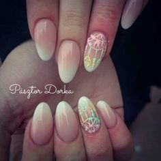 Acrylic babyboomer nails with dreamcatcher. Nails by Pásztor Dorka