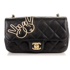 CHANEL Lambskin Quilted Extra Mini Emoji Flap Black ❤ liked on Polyvore featuring bags, handbags, shoulder bags, long purse, mini shoulder bag, chanel handbags, mini purse and shoulder bag purse