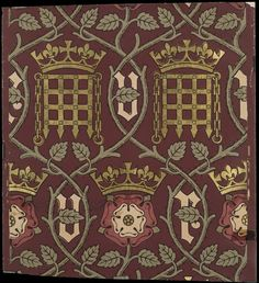 Wallpaper designed by A W Pugin for the Palace of Westminster in 1848; 'he crowned portcullis is the symbol for the Palace, and the crowned flower is the Tudor rose, a Royal emblem. The letters 'V' and 'R' stand for Victoria Regina - Queen Victoria. The design was intended to symbolise the authority of Crown and Parliament'. (Victoria & Albert Museum)
