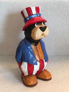 Hand Carved Patriotic Bear Wood Carving Carved by RWKWoodcarving