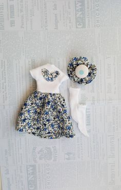 Blue white dress Blythe dress Hair clip Blythe dress socks doll clothes Blythe doll clothes ICY Handmade dress Pullip clothes Blythe doll 12 by BlytheFoufou on Etsy