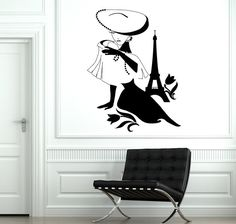 Wall Decal Paris France Eiffel Tower Sexy Girl Flower by BoldArtsy